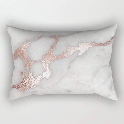 Yuanmeiju Rose Gold Marble Rectangular Pillowcase Cushion Cover 20x30 Inch