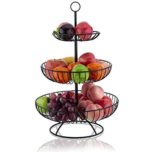LOMOFI Obst Etagere,Obstkorb mit 3 Körben Obstschale Metall,Dekorativer Obstkorb Vintage Schwarz,Abnehmbar Obstschale,Multifunktion Ausstellungsstand für Küche,Bad