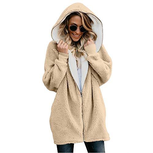 YUANFANG Damen warme Mantel verdicken mit Kapuze Langarm Strickjacke Winter Fleece Zip up warme Mantel Outwear komfortable Baggy Jacke,Apricot-S