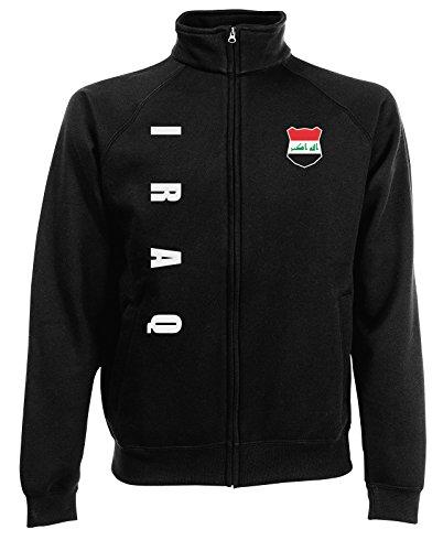 AkyTEX Irak Iraq Sweatjacke Jacke Trikot Wunschname Wunschnummer (Schwarz, M)