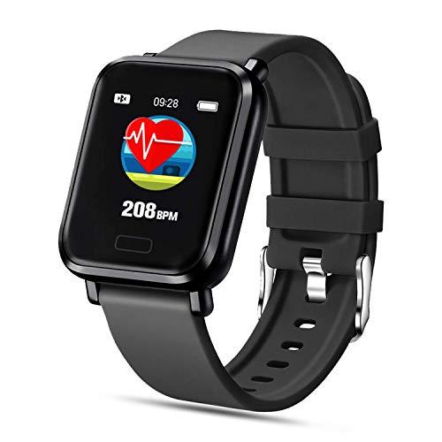 FENHOO Smartwatch, Reloj Inteligente Impermeable IP68 para Hombre Mujer Niños, Pulsera Actividad Inteligente con Pulsómetro Monitor de Sueño Podómetro Calorías Reloj Digital para Android iOS (Negro)