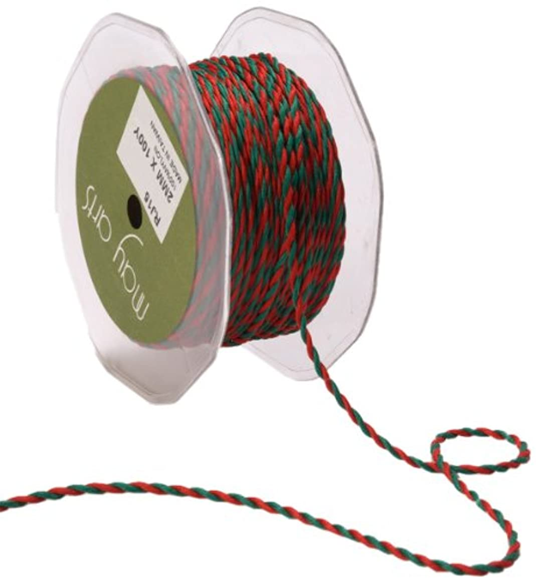 May Arts 1/16-Inch Wide Ribbon, Red and Green Twisted Rope