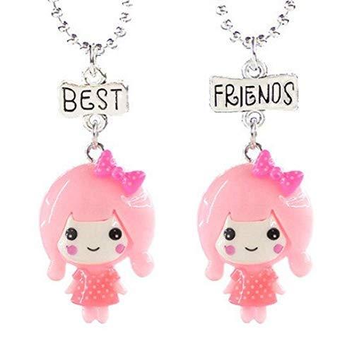 Inception Pro Infinite Dos collares de niña – Mejores amigos para 2 – Amistad – Kawaii X 2 – Best Friends – BFF – Muñeca – Navidad – Color rosa – Dibujos animados – Pareja