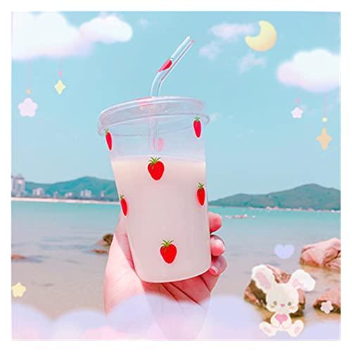 JSJJAEY Taza Copa de Vidrio de Fresa de Kawaii con insumia de la Paja de Vidrio de Vidrio de Vidrio de Agua Transparente Taza de Paja Linda Tazas de café de Leche (Capacity : 401 500ml, Color : 01)