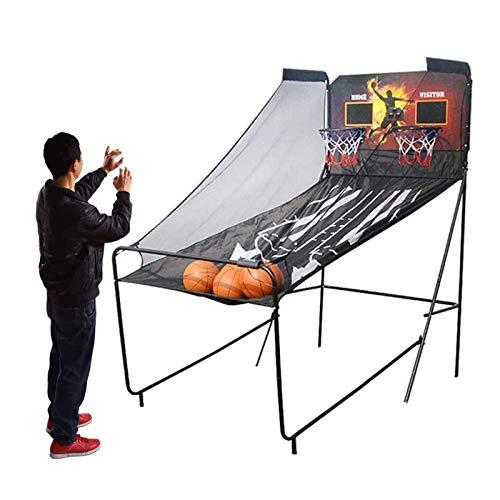 ZXQZ Aro de Baloncesto Electrónico Plegable, con Marcador, Soporte de Juego de Canasta de Doble Tiro para Interior, 5 Bolas y Bomba de Aire Incluidas, 8 Modos de Juego para 2 Jugadores