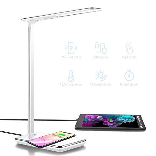 Lámpara Escritorio LED Táctil - Qi Rápida Cargador Inalámbrico para todos los Teléfonos Qi y Puerto USB, Lámparas de Mesa Regulable Plegable, 5 Niveles De Brillo, 4 Colors (Blanco)