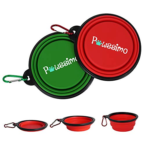 Portable Dog Bowl Pawssimo 2 Pack Collapsible Silicone Dog Cat Food amp Water Bowl | Multi Use Travel Cup BPA Free Dishwasher Safe | Compact Dish Free Carabiner
