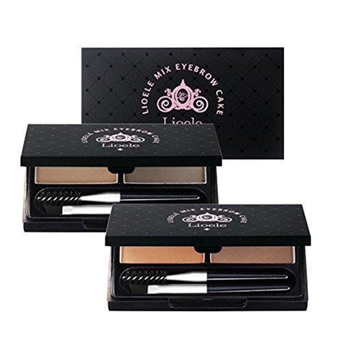 Lioele® - Mix Eyebrow Cake - Augenbrauenpuder - 02 Gray/Dark Gray - Profi Augenbrauen Make Up mit Pinsel - Wasserabweisend und wischfest - Augenbrauenfarbe - Augenbrauenstift