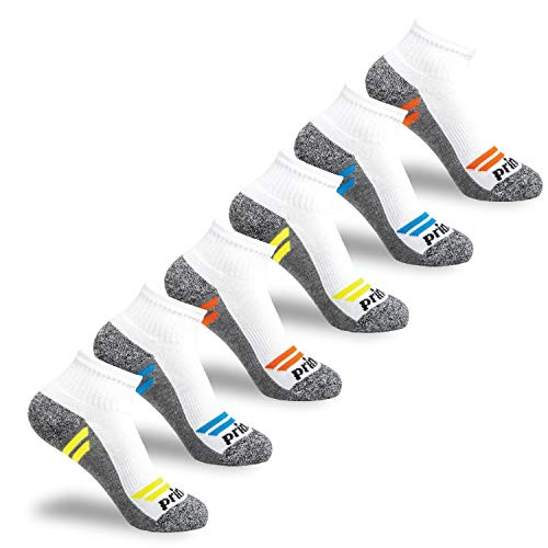 Prince Boys' Quarter Length Athletic Ankle Socks with Cushion for Active Kids (White with Grey Bottom, 3-9 (Big Boys))