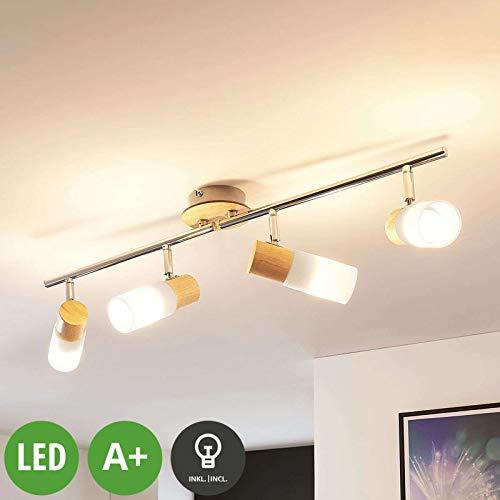 Lindby LED Deckenlampe 'Christoph' (Landhaus, Vintage, Rustikal) aus Holz u.a. für Schlafzimmer (4 flammig, E14, A+, inkl. Leuchtmittel) - Deckenleuchte, Wandleuchte, Strahler, Spot, Lampe