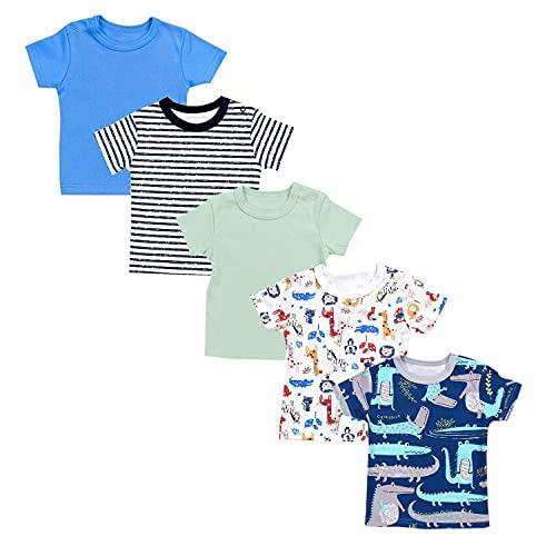 TupTam Camiseta Manga Corta para Bebé, Pack de 5, Multicolor 6, 86