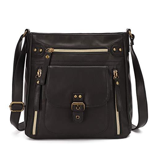 KL928 Tasche Damen Umhängetasche kleine Handtaschen Schultertasche Damentasche Damenhandtasche mittelgroß handtasche Lederhandtaschen Geldbörse PU Leder für frauen oder Mädchen(black)