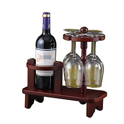 JTRHD Botellero para Vino Creative Wine Rack Vino Copa de Vino Rack Titular de Taza de Madera Suministros Suministros para Armario/Armario/encimera (Color : Marrón, Size : Medium)