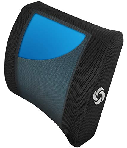 Samsonite Lumbar Support Pillow, Memory Foam with Cooling Gel Technology, Ventilated Mesh, Fits Most Vehicles and Office Chairs, , Ergonomic Shape