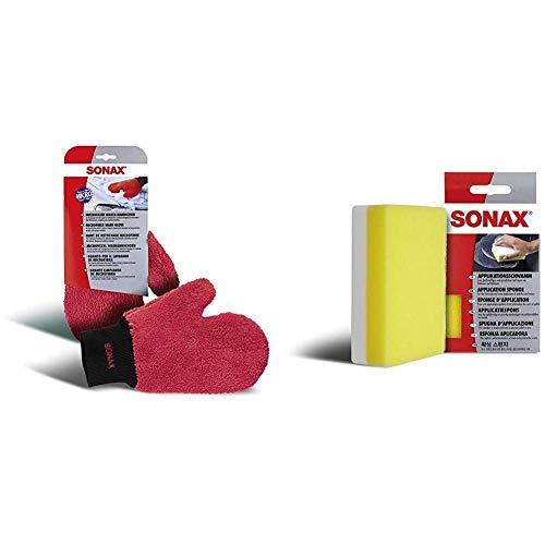 SONAX Microfaser WaschHandschuh bequemer Handschuh mit Oberflächenschutz, schonende Reinigung Aller Lack- und Kunststoffoberflächen & ApplikationsSchwamm (1 Stück) zum Auftragen und Verarbeiten