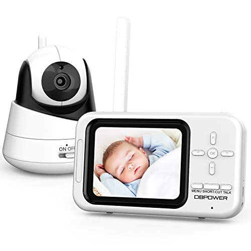 """DBPOWER Video Baby Monitor with Camera and Audio, 360°Pan 3.5"""" LCD Up to 4 Cameras, Two Way Talk, Night Vision, Non-WiFi, VOX, Lullabies, Thermal Monitor (BMO-X1)"""