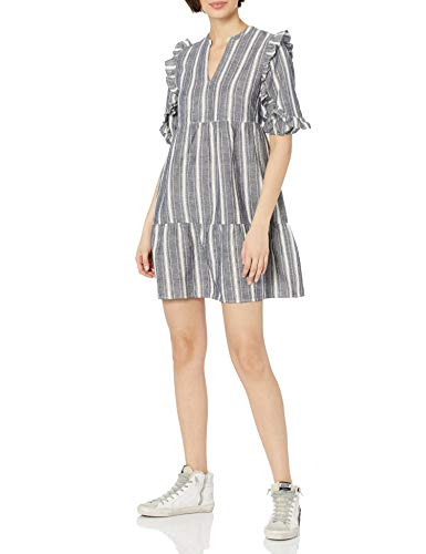 AmazonBrand Goodthreads Women's Washed Linen Elbow Sleeve Split Neck Tiered Dress, Grey Awning Stripe, X-Large