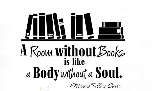 Axlgw grote kamer zonder boeken boekenplank citaat muursticker bibliotheek studie inspirerende citaat boek onderwijs muur sticker klaslokaal grootte 56Cmwidex40Cmhigh
