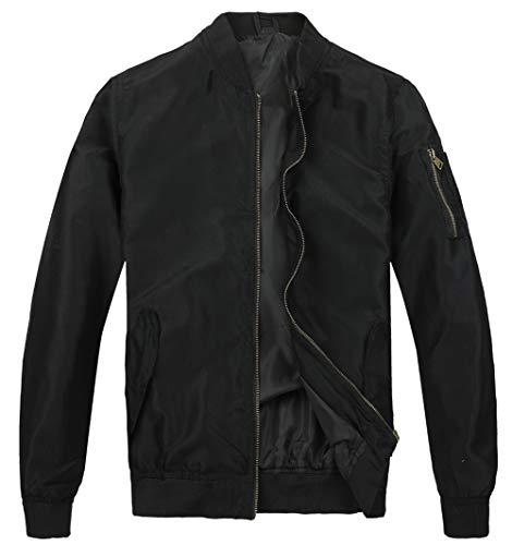 MADHERO Mens Bomber Jacket Lightweight Slim Fit Softshell Windbreaker Black L