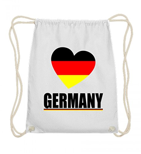 Hochwertige Baumwoll Gymsac - Herz Deutschland Flagge Ich Liebe Germany Fahne T-Shirt Geschenk Fussball Trikot