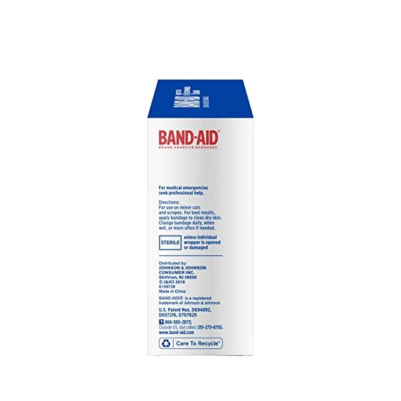 Johnson & Johnson Band-Aid Brand Flexible Fabric Adhesive Bandages for Wound Care and First Aid, All One Size, 100 Count… 11 100-count Band-Aid Brand Flexible Fabric Adhesive Bandages for first aid and wound protection of minor wounds, cuts, scrapes and burns Made with Memory-Weave fabric for comfort and flexibility, these bandages stretch, bend, and flex with your skin as you move, and include a Quilt-Aid comfort pad designed to cushion painful wounds which may help prevent reinjury These Band-Aid Brand Flexible Fabric adhesive bandages stay on for up to 24 hours and feature a unique Hurt-Free Pad that won't stick to the wound as they wick away blood and fluids, allowing for gentle removal