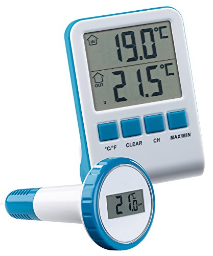 infactory Wasser Thermometer: Digitales Teich- und Poolthermometer mit LCD-Funk-Empfänger, IPX8 (Pool Thermometer Funk)