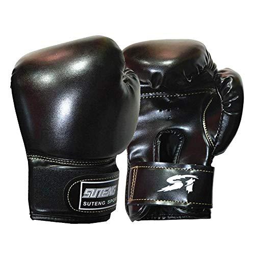 Guantes de boxeo para niños para entrenamiento, guantes de boxeo para niños de Muay Thai Kick Boxing Color para saco de boxeo juvenil, chupete y almohadillas de enfoque de perforación (negro)