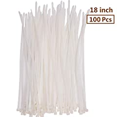 100 Pcs 18in Long Wide Industrial Strength nylon wire ties with 175 lbs tensile strength suit for the toughest of environments Multipurpose Plastic Cable Zip Ties: Hang lights and banners, attach fences, or bundle computer and TV cables together, You...