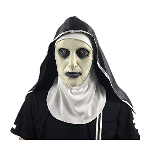 WYJSS Festival de Fantasmas de Halloween Mscara de Horror Sorpresa Femenina Fantasma Mscara Facial Monja Cosplay Mscara Ltex Asustante Cabeza Llena Mascarada de Terror,Beige-OneSize