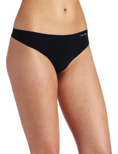 Calvin Klein Women's Invisibles No Panty Line Thong Panty, Black, Medium