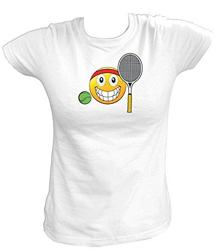Artdiktat Damen T-Shirt - EMOJI TENNIS BALL & RACQUET Größe L, weiß
