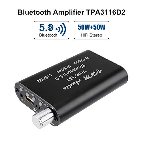Amplificador Bluetooth Mini Hifi Estéreo 2.0 TPA3116D2 2X50W Amplificador de Audio Clase D Amplificador de Potencia Digital Bluetooth 5.0 de Doble canal AMP con entrada AUX / USB / Bluetooth
