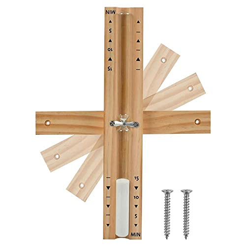 FHSMRING Reloj de arena de madera montado en la pared, giratorio de 15 minutos, temporizador de arena blanca para uso en el hogar, tienda, temporizadores (color: China)