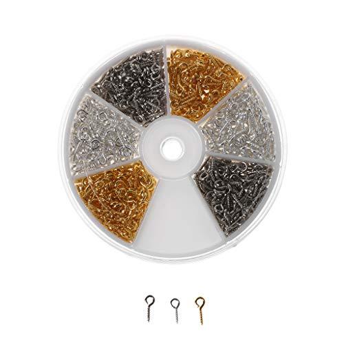 ZJL220 600 unidades de 3 colores con ojal de tornillo, ganchos roscados de tornillo para creación de joyas