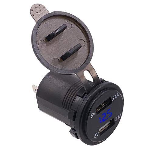 perfk Cargador De Coche Doble USB 4.2A: Carga Inteligente, Medidor De Voltímetro Con Pantalla LED De Voltaje 12V-24V DC, Batería De Automóvil Y Monitor Del
