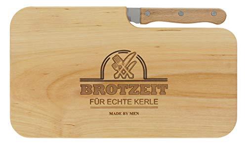meinbecher Brotzeitbrett Jausenbrett Holz Erle Messer BROTZEIT FÜR ECHTE Kerle Geschenk Männer Schneidbrett Holz Geschenkidee für Ihn
