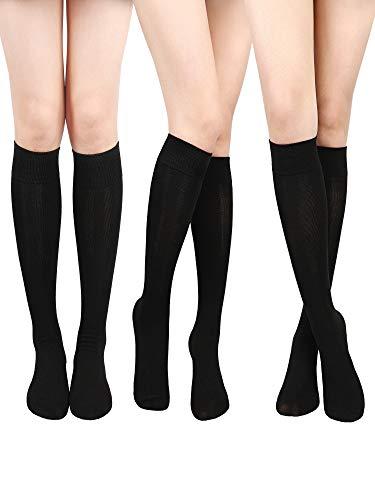 SATINIOR Calcetines Altos de Rodilla de Algodón Calctines Altos de Punto Sólido Casuales Calcetines de Botas para Mujers(Negro, 3 Pares)