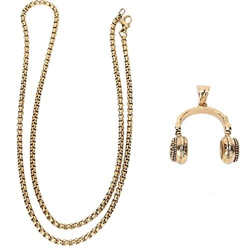Collar de joyería, forma de auricular de collar vintage de acero titanio para papá para esposo