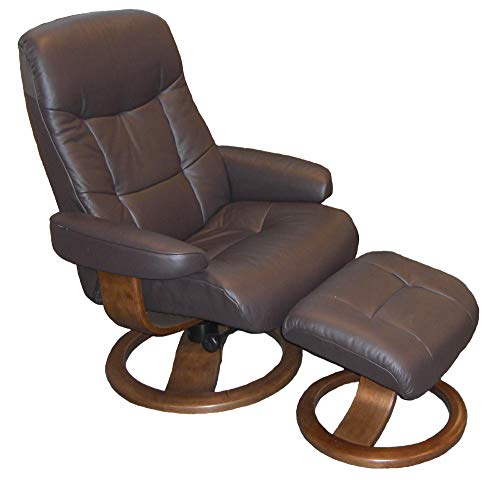 Fjords Muldal Large Leather Recliner Chair with Ottoman in Havana Dark Brown NL 120 Nordic Line Leather with a Walnut Wood Stain Base