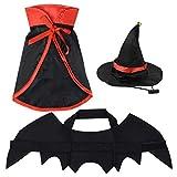 Yookat 3 Pieces Vampire Cat Costume Pet Costume Vampire Bat Wings Cloak Cape with Hat Pet Halloween Vampire Costume for Cat Puppy Halloween Party Pet Cosplay