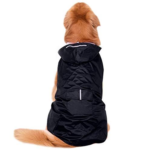 POPETPOP Impermeabile con Cappuccio per Cani di Taglia Media e Grande, Poncho Riflettente, con Foro per Imbracatura, Tasche, Giacca Antipioggia (Nero, 4XL)