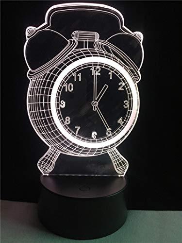 Reloj Despertador Cable De Iluminación Led 3D Decorativo Ambiente De Vida Luz De Noche Usb Hogar Dormitorio Lámpara De Mesa Multicolor Regalo De Amigos 1pc