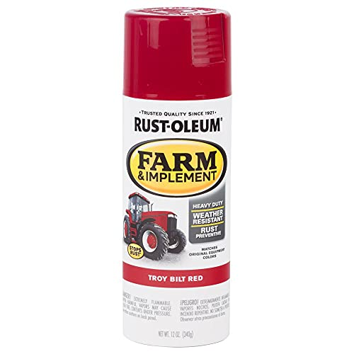 Rust-Oleum 303473 Farm & Implement Spray Paint, 12 oz, Gloss Troy Bilt Red, 12 Ounce