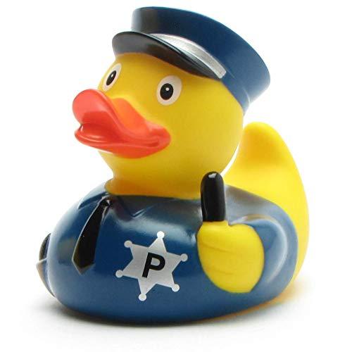 DUCKSHOP I Badeente Polizei I Quietscheente I L: 7,5 cm - inkl. Badeenten-Schlüsselanhänger im Set