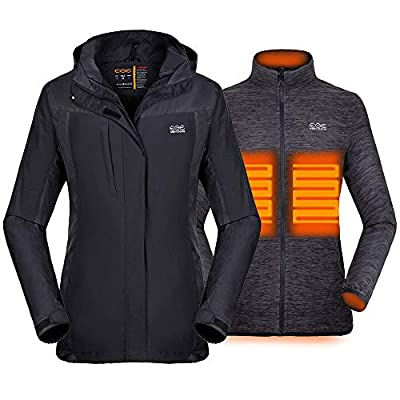 [2019 New] Women's 3-in-1 Heated Jacket with Battery Pack, Ski Jacket Winter Jacket with Removable Hood Waterproof