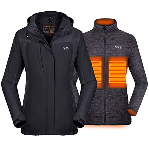 Venustas [2019 New] Women's 3-in-1 Heated Jacket with Battery Pack, Ski Jacket Winter Jacket with...