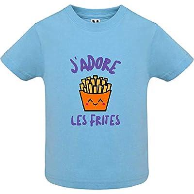 LookMyKase T-Shirt - Manche Courte - Col Rond - J'adore Les Frites - Bébé Garçon - Bleu - 18mois