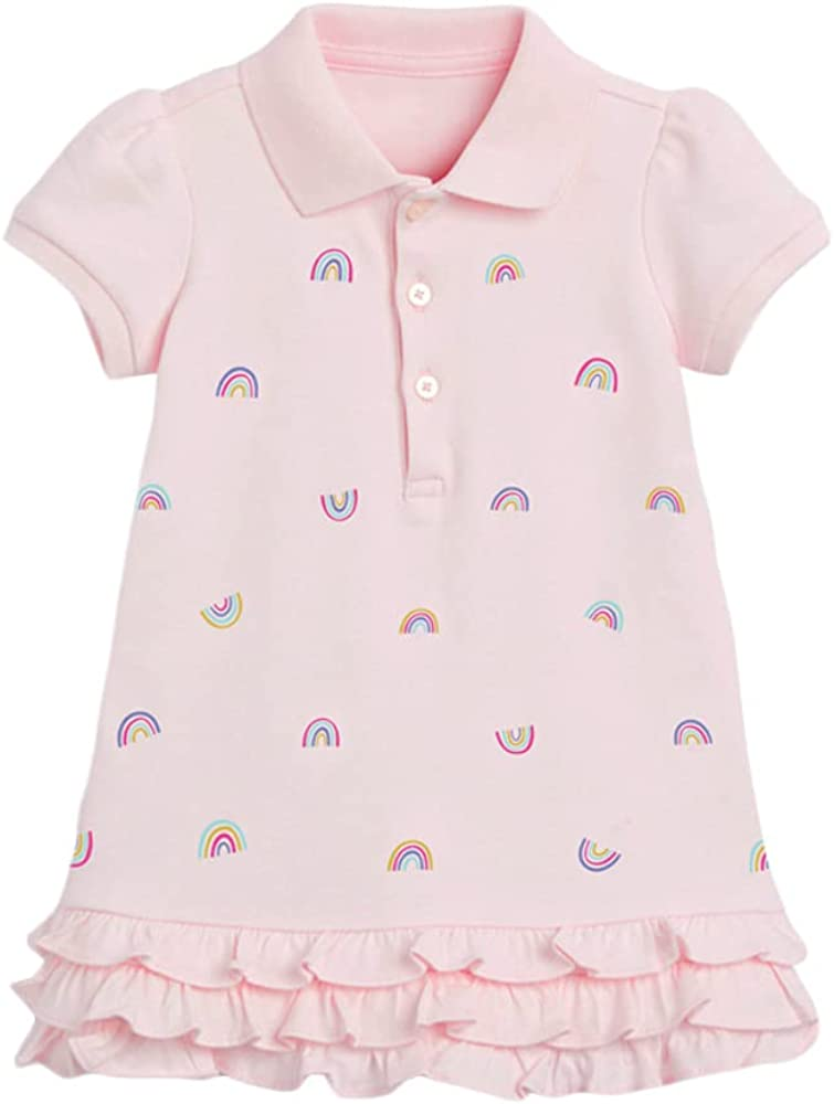 OFIMAN Little Girls Short-Sleeve Polo Dresses Girl's Summer Clothes Size 2-7 Years