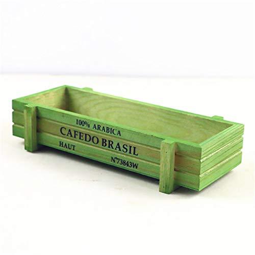 Jardín vintage de madera para plantas, macetero, rectangular, para interior y exterior, decoración de jardines, verde