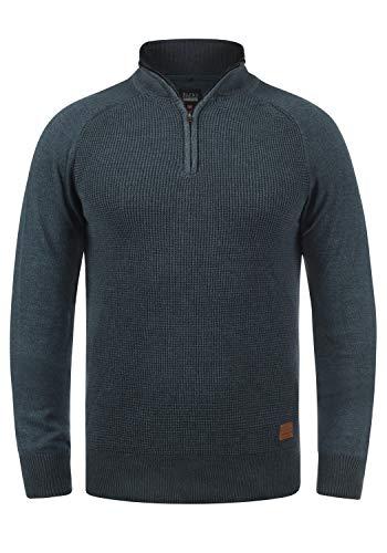 Blend Ganbolf Herren Strickpullover Troyer Grobstrick Pullover mit Reißverschluss, Größe:3XL, Farbe:Navy (70230)